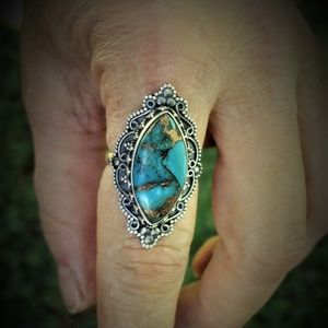Turquoise ring sterling silver size 8 3/4